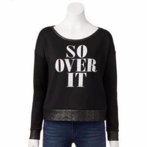 ROCK & REPUBLIC Sweatshirt Scuba Black Graphic L